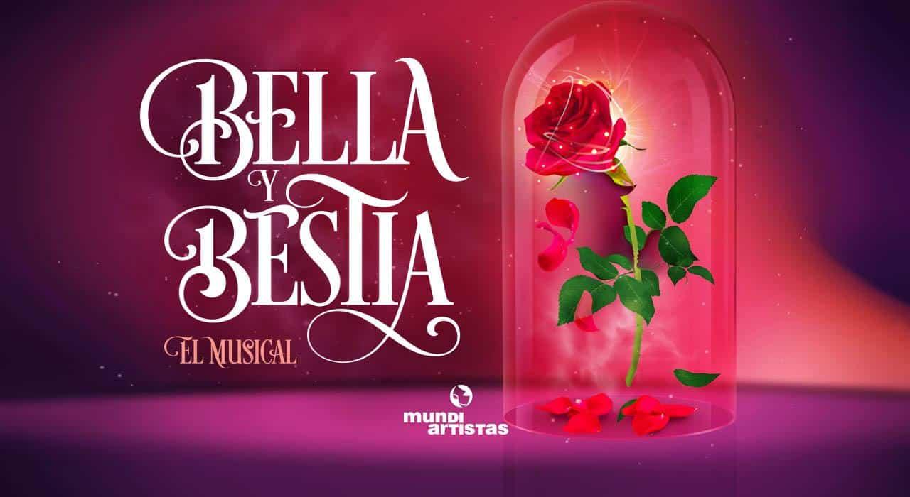 La Bella y la Bestia, el musical - Cartel con una rosa roja grande